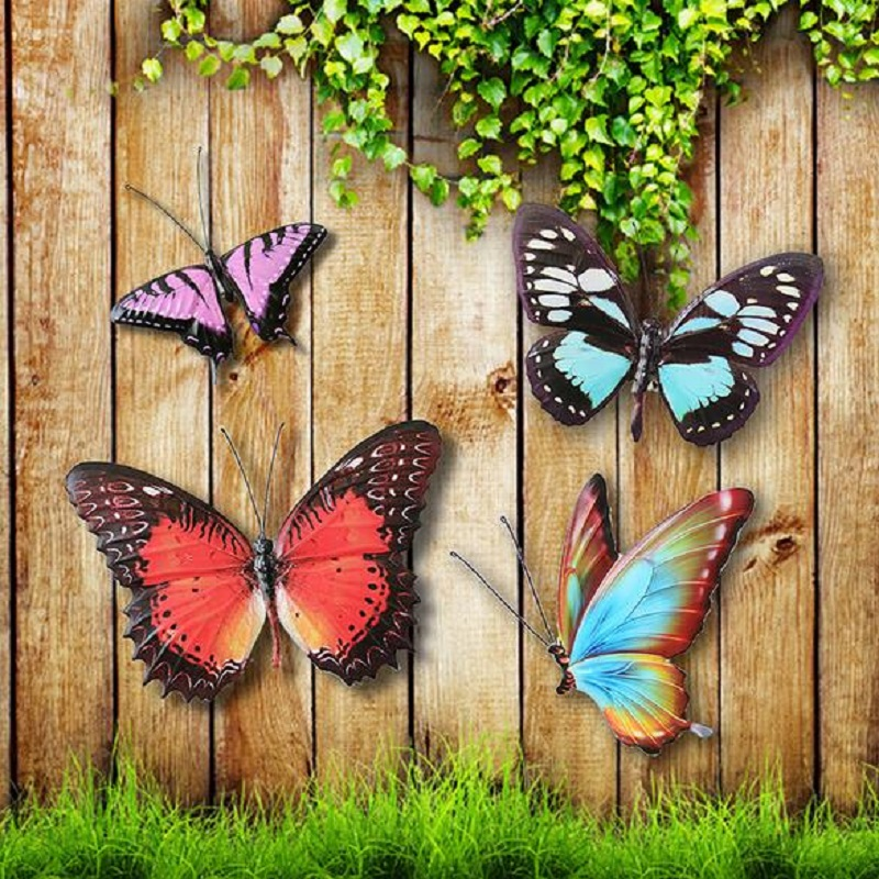 Metal colourful butterflies wall art garden fence home for Outdoor butterfly decor