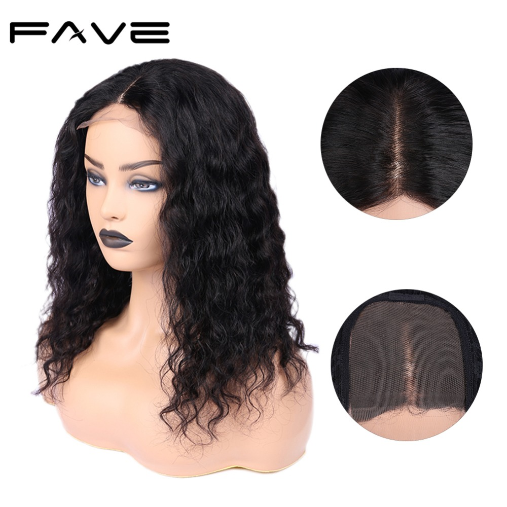 Lace Front Water Wave Wigs 4*4 Swiss Lace Closure Front Human Hair Middle Part Wig Wet And Wavy Wigs For Women Fave Hair