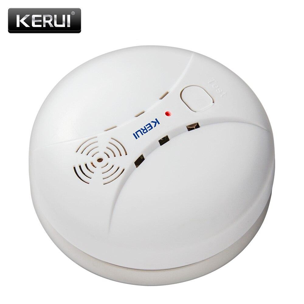 Kerui gs04 433 mhz sem fio detector de fumaça sensor incêndio para g18 w18 gsm wi fi segurança sistema de alarme em casa discagem automática sistemas de alarme