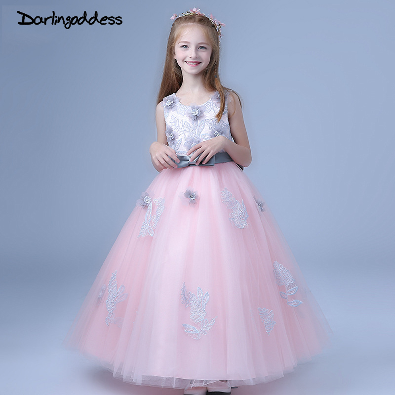 Darlingoddess 2018 Flower Girl Dresses for Weddings Lace Appliques Ball Gown First Communion Dresses for Girls Kids Prom Dresses