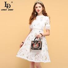 リンダデラファッションデザイナー夏カジュアルドレス女性の中空アウトフリル刺繍エレガントなレディースショートドレス LD