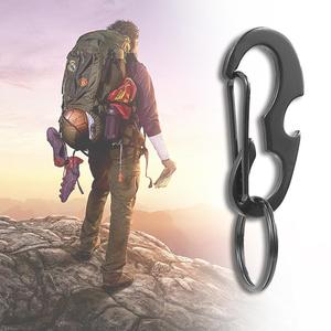 Image 1 - 1pcs Black Climbing Steel Carabiner Buckle For Bottle Opener Key Chain Clip For Camping Snap Hook Outdoor Travel Kit Accessories