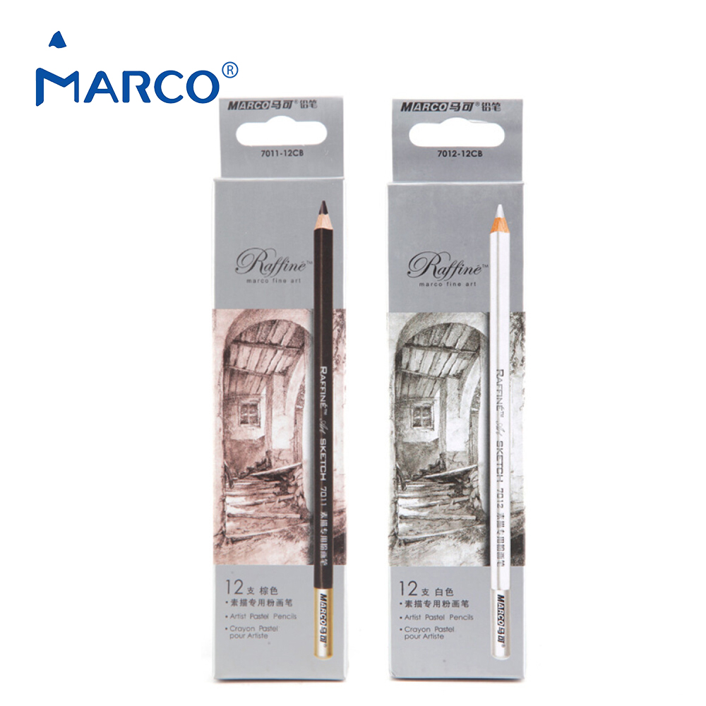 Marco Raffine 12pcs/set Professional Charcoal Brown and White Sketch Pencils