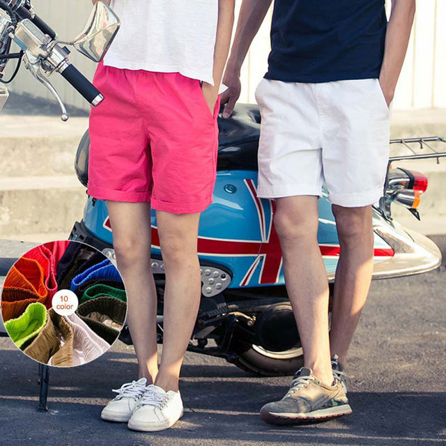 496dc0234f57 € 1.98 20% de DESCUENTO|De moda de algodón pantalones casuales elástico  cintura verano playa Color caramelo hombres amantes de las mujeres ...