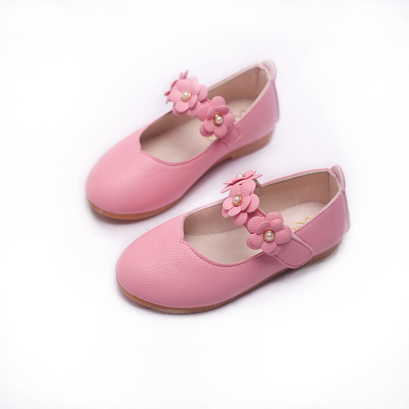 Children Shoes 2019 Leather Girls Shoes 21-36 Summer Kids Shoes Princess Flower Flats Ballet Pink Toddler Casual Dance Shoe