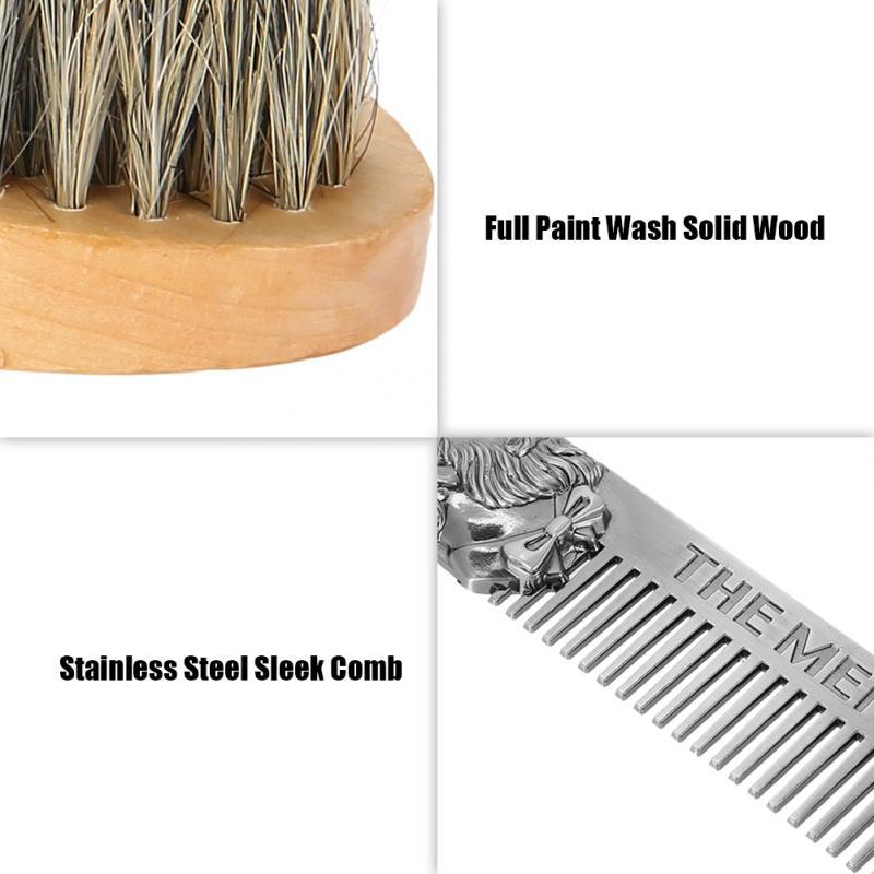 TMISHION Men Moustache Brush Kit with Moustache Comb Scissor Storage Bag Repair Beard Modeling Cleaning Care Kit 3