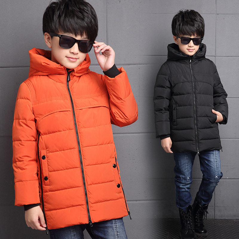kids jacket boys jacket Korean version of the new winter fashion long section of thick down jacket coat free shipping цены онлайн