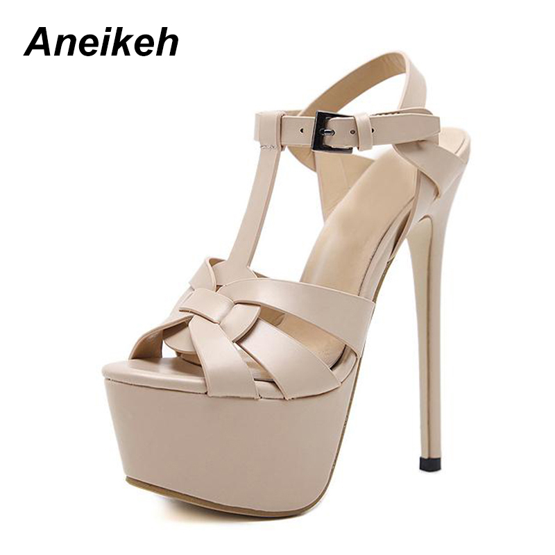 Aneikeh Stiletto Sandals <font><b>17CM</b></font> Platform <font><b>High</b></font> <font><b>Heel</b></font> Sandals Fashion Open Toe Gladiator Sandal Summer Platform <font><b>Sexy</b></font> Pole Dance Shoes image