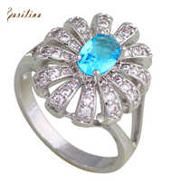 Wedding accessories Silver Blue Cubic Zirconia jewelry Rings for womens Fashion Bijoux size 5.5 6 6.5 7.5 R603