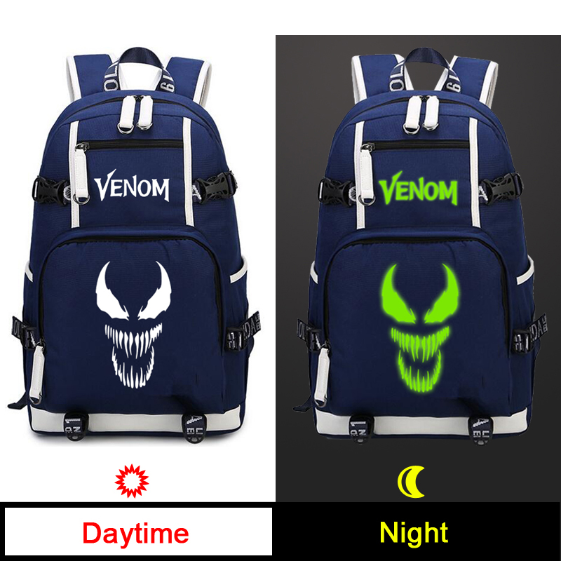 High Quality Anime Film Venom Backpack Spider Man Cosplay Oxford School Bag Luminous Travel Bags