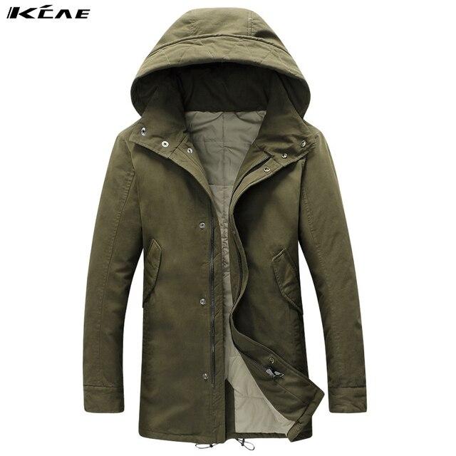 Plus Size L-4XL dos homens Novos Longas da Neve do Inverno De Espessura do revestimento do Revestimento Quente, Com Capuz Parkas casaco, 2 Cores