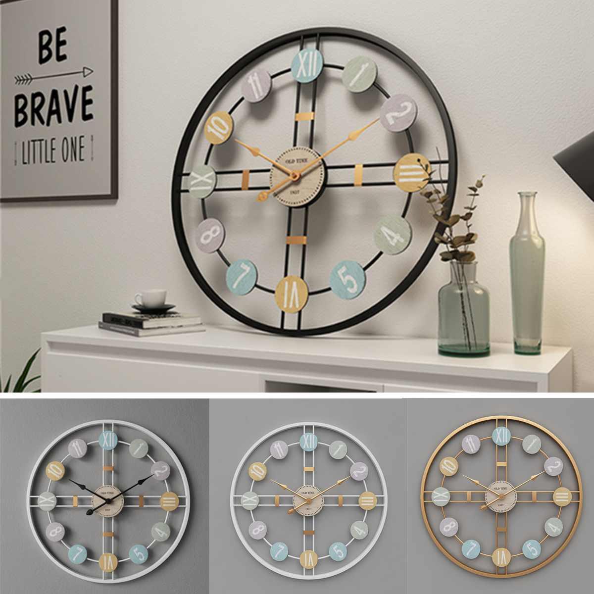 40CM Silent Round Wall Clock 3D Retro Nordic Metal Roman Numeral DIY Decor Luxury Wall Clock for Home Living Room Bar Cafe Decor
