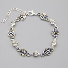 Hot 1pc Silver Color Austrian Crystal Charming Rose Flower Chain Bracelet For Women Jewelry Wholesale top quality zyh153 simple and noble green crystal rose gold color bracelet jewelry austrian crystals wholesale