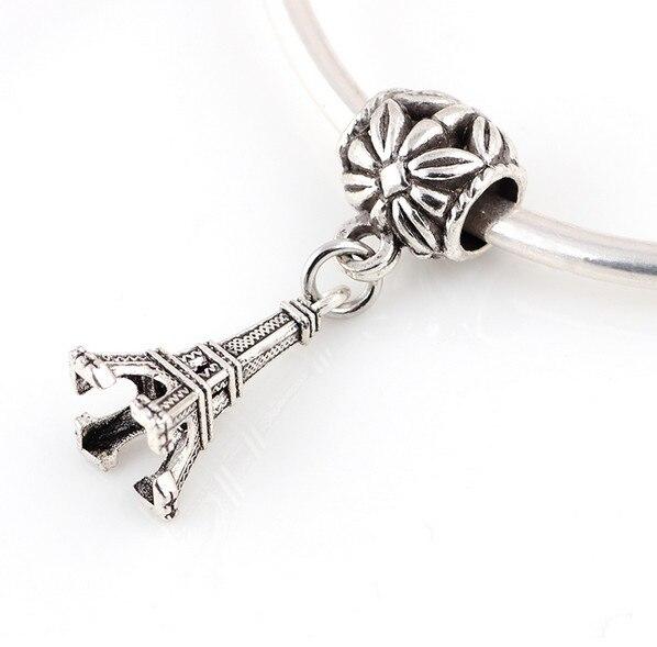 Antique Silver Plated Eiffel Tower Shape Beads DIY Big Hole European Pendant Metal Charm Bead Fit For Pandora Charms Bracele 88