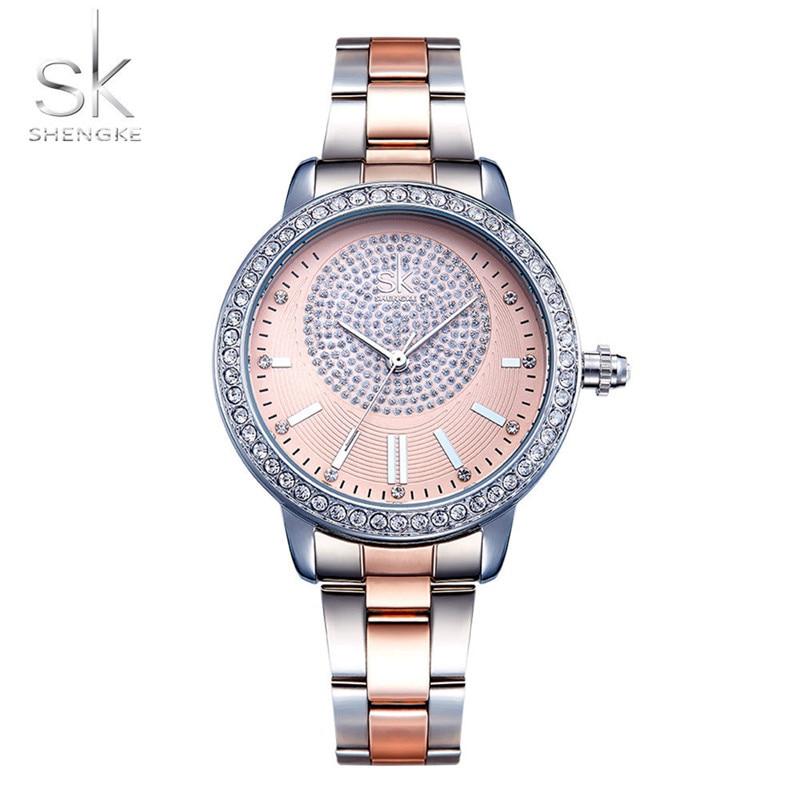 Shengke Rose Gold Watch Women Quartz Watches Ladies Top Brand Crystal Luxury Female Wrist Watch Girl Clock Relogio Feminino цена