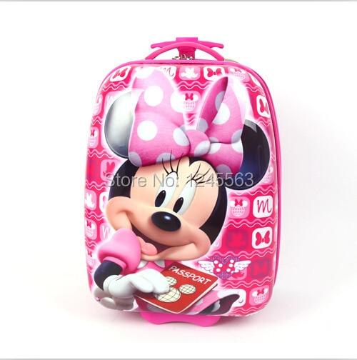934d4d8a7 Varejo 1 pc meninas bebê dos desenhos animados caso infantil Minnie Mouse  rolando bagagem saco de