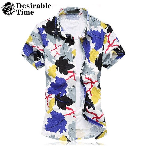Мужская Пляжная Одежда Гавайская Рубашка Плюс Размер 6XL 7XL Летом Мужская С Коротким Рукавом Цветочный Принт Футболки 100% Хлопчатобумажных XK267