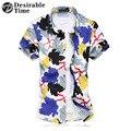 Mens Beach Wear Hawaiian Shirt Plus Size 6XL 7XL Summer Short Sleeve Mens Floral Print Shirts 100% Mercerized Cotton XK267