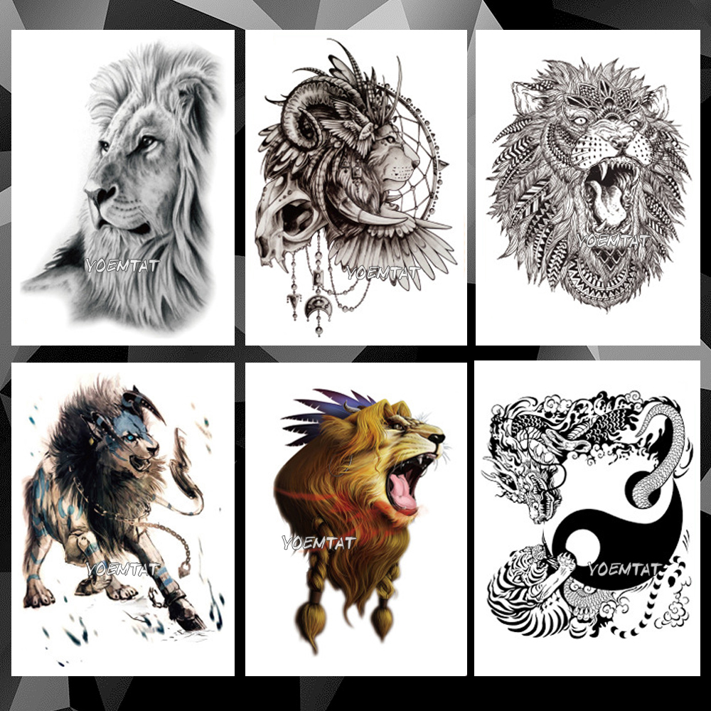 Waterproof Temporary Tattoo Sticker Animal Lion Pattern Tatoo Water Transfer Wolf Fox Body Art Fake Arm Tattoo For Women Men