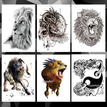 Waterdichte Tijdelijke Tattoo Sticker Dier leeuw patroon tatoo Water Transfer wolf vos body art fake arm tattoo Voor Vrouwen Mannen(China)