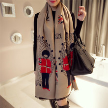 Mosoga 2018 New Arrival Autumn Winter Women Scarf Thicken Warm Cashmere Pashmina Brand Poncho with Flag Letter Solider Print New