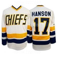883890f4a Ediwallen Steve Hanson 17 Charlestown Chiefs Ice Hockey Jerseys Cheap Slap  Shot Movie Hanson Jersey Men Blue White High Quality