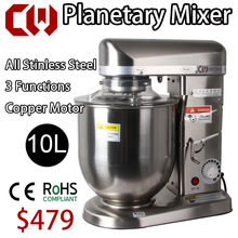 10L High Quality Full Stainless steel Planetary Mixer Commercial Stand Food Mixer, Egg,Cream,Flour Mixing Blender