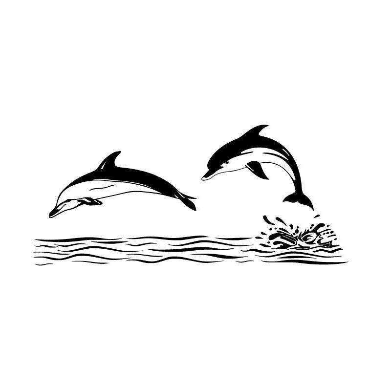 2d2d8467b 15*6.8 سنتيمتر الدلفين حيوان لطيف ملصقات جسم السيارة تغطية الخدوش شخصية  الزخرفية الشارات أسود/الفضة C6-0641