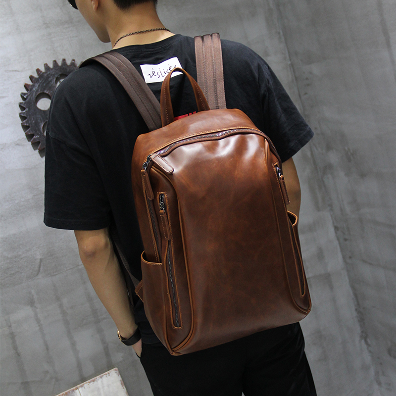 High Quality Leather Men's Laptop Backpack for Macbook Pro 13 Studuent School Double Shoulder Bag for Computer 14 Inch New lowepro protactic 450 aw backpack rain professional slr for two cameras bag shoulder camera bag dslr 15 inch laptop