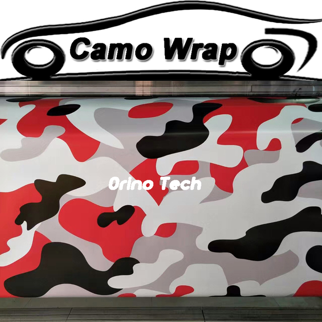 Black Red Snow Camouflage Vinyl Film Sticker Car Styling Motorcycle Scooter Truck Body Wrap Foil