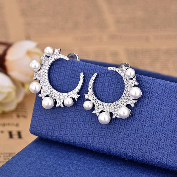 A Pair CZ Pearl Beaded Moon Star Earring High Quality 2018 New Arrived Christmas Gift Fashion Luxury European Female Jewelry