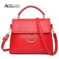 Las mujeres de La Pu Bolsas de Mensajero de Cuero Bolsos de Mujer Femenina de Alta Calidad con Mango Rojo Solo Hombro Bolsas de Asas Casual bolsas de 8449