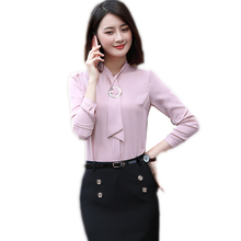 Fashion women pink clothing long sleeve slim bow tie shirt autumn formal chiffon blouses office ladies work wear plus size tops