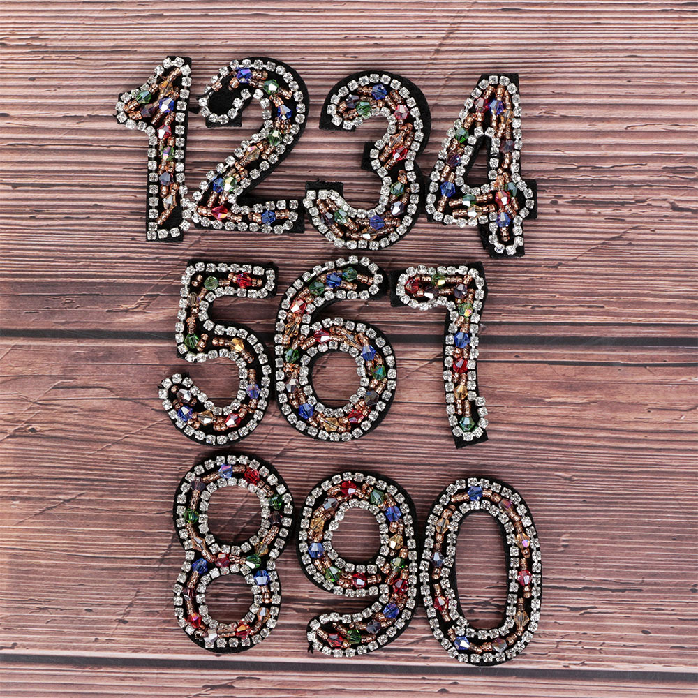 Sparkling Rhinestone Number 0-9 Patch Clothes Iron-on Patch Sequined Tassel Shoes/hats/bags Bling Applique Clothing Accessaries
