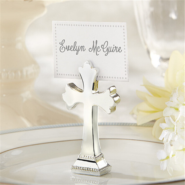 Sacrament Cross Place Card Photo Holder Religion Party Table Decorations Name Holders Favor