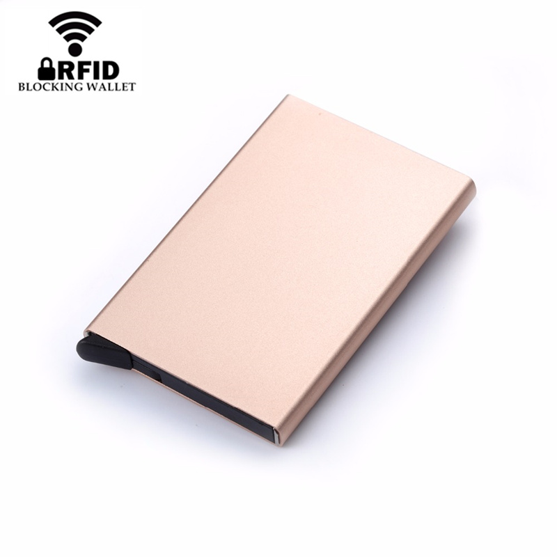 ZOVYVOL 2019 RFID Blocking Metal Wallet Men Women Card Holder Slim Aluminum ID Credit Case Money Travel Mini Wallet Automatic in Card ID Holders from Luggage Bags