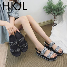 HKJL Sandals female 2019 new wild slippers summer sequins wear fashion thick bottom increase womens shoes A720