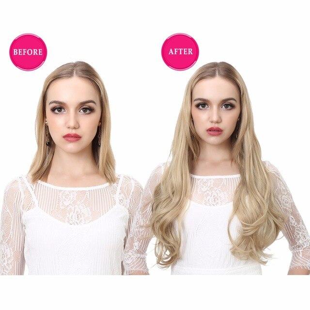 SARLA U Part-extensiones de cabello con Clip, extensiones de pelo liso largo sintético falso Rubio Natural y grueso 16 20 24 inch
