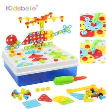 Детские Обучающие DIY винтовые игрушки, креативные сборные мозаичные дизайнерские забавные игры, детские пластиковые головоломки, игрушки для мальчиков