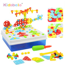 Children Education DIY Screw Group Toys Creative Assembled Mosaic Design Funny Game Kids Plastic Puzzle Tool Toys For Boys(China)