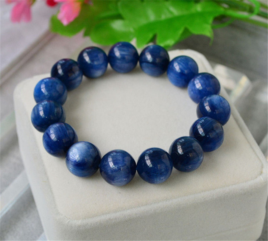 15mm Genuine Natural Blue Kyanite Cat Eye Gem Stone Crystal Round Beads Bracelet Stretch For Women And Men In Strand Bracelets From