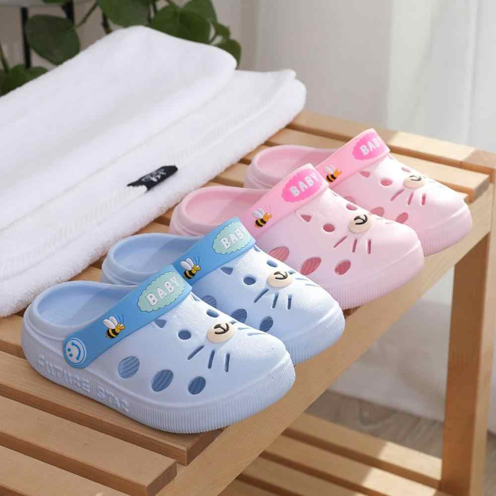 Zapatillas de casa para niños, bebés, niñas, niños, zapatos de tacón plano de dibujos animados de goma, sandalias para niños (EE. UU. tamaño)