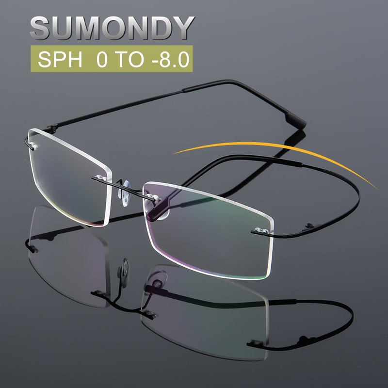 SUMONDY SPH 0 to -8.0 Rimless Myopia Glasses Men Women 1.61 Lens Elegant Square Frame Prescription Spectacles With Diopter UF40(China)