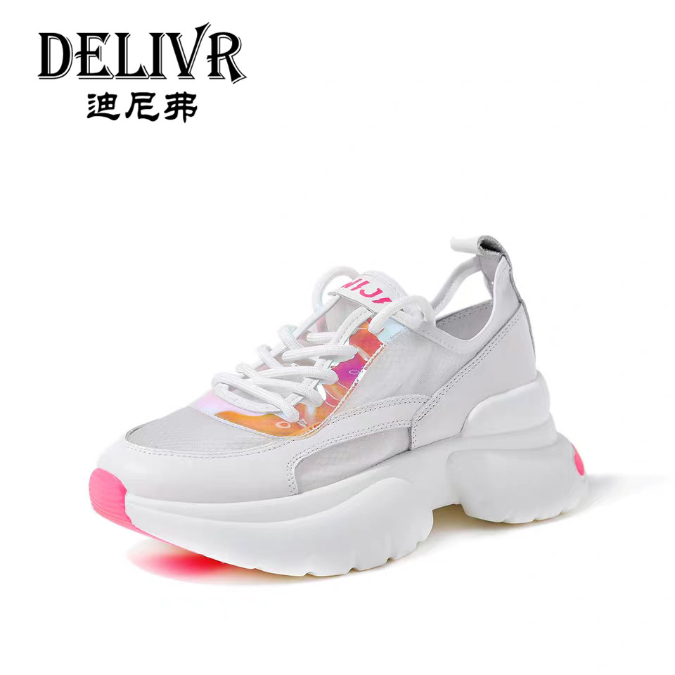 Delivr 2019 Summer Fashion Women Dad Shoes Thick Sole Tenis Feminino Ladies Chunky Shoes Platform Luxury Female Sneakers WhiteDelivr 2019 Summer Fashion Women Dad Shoes Thick Sole Tenis Feminino Ladies Chunky Shoes Platform Luxury Female Sneakers White