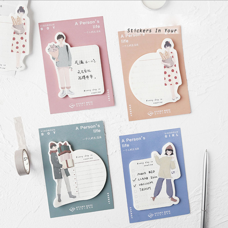 1X  Daily Life Self-Adhesive Memo Pad Kawaii School Supplies Planner Stickers Paper Bookmarks Korean Message Note Stationery
