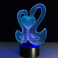 3D LED Table Lamp Swans Love Heart Night Light 7 Color Change Mood Room Sleeping Lamp
