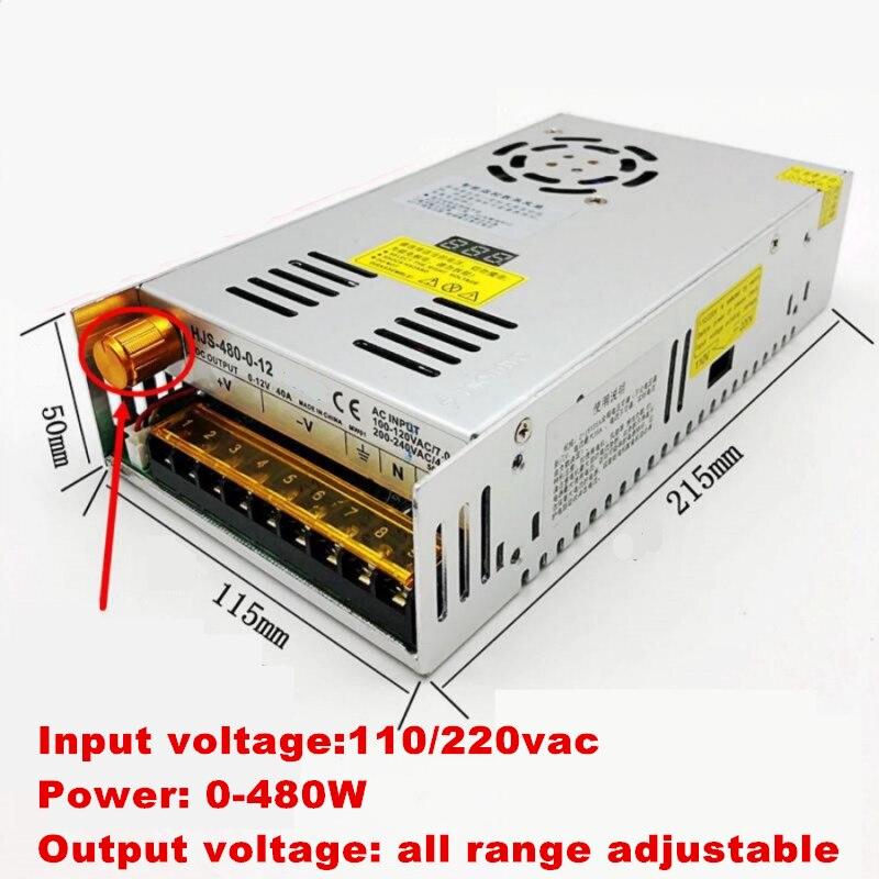 480W digital display switching power supply Adjustable voltage 0-5V 12V 24V 36V 48V 60v 80V 120v 220v, 24v 20A, 48V 10a-1