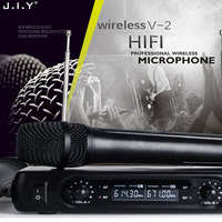 JIY LCD Wireless karaoke Microphone Professional dual Handheld mixer audio LCD Wireless Mic Receiver System for Singing karaoke