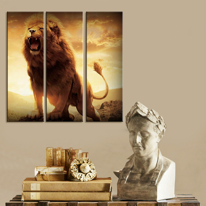 5 Panel Wall Art Lion Painting Canvas Picture Modern Home Decor For Living