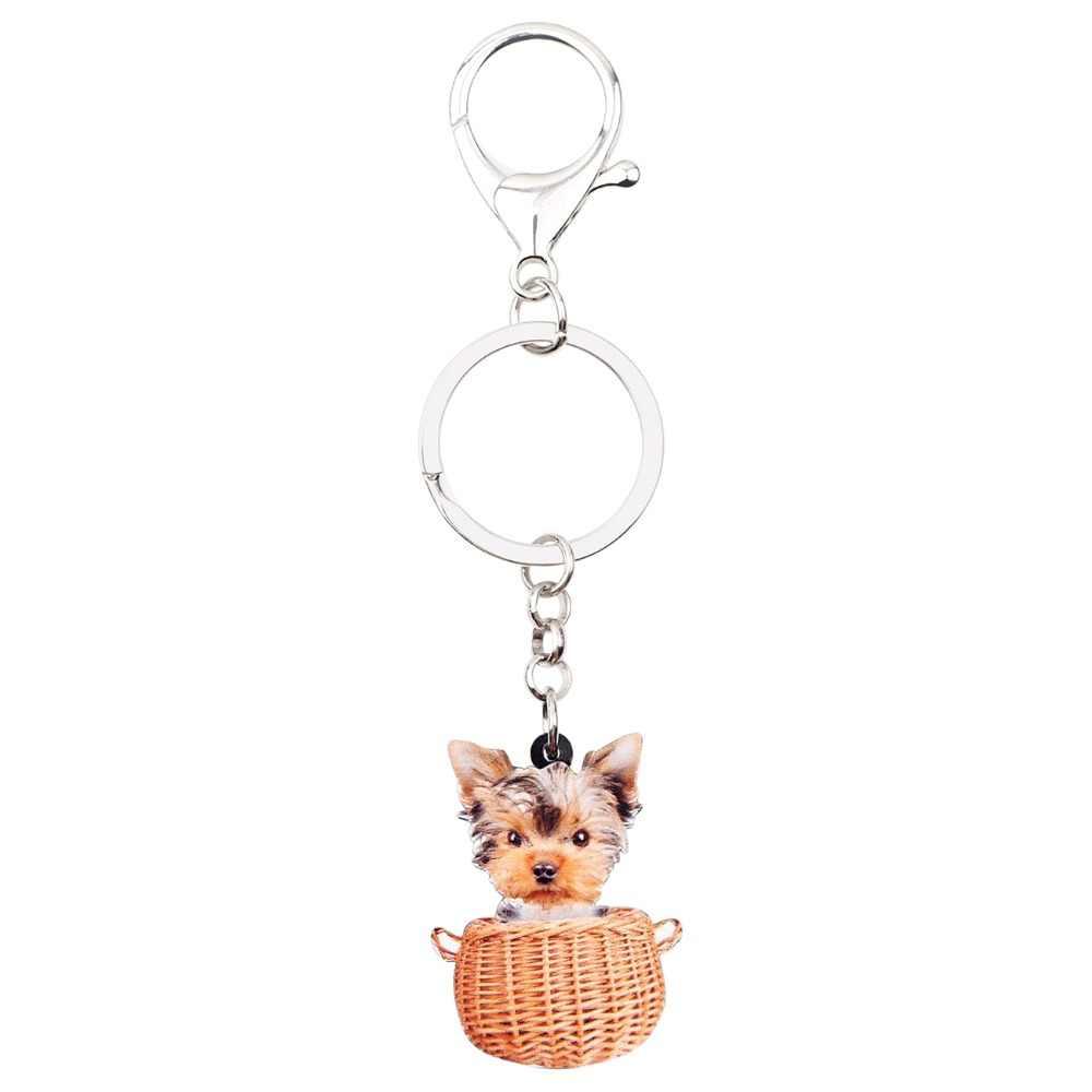 Cesta Do Cão Yorkshire Bonsny Acrílico Chaveiros Chaveiros Anéis Animal Bonito Presente Jóias Para As Mulheres Meninas Saco de Encantos Pingente De Carro
